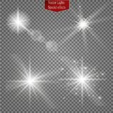 Set of glow light effect stars bursts with sparkles  on transparent background. For illustration template art. Design, banner for Christmas celebrate, magic Stock Photos