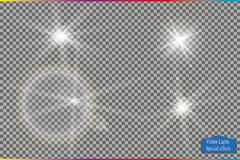 Set of glow light effect stars bursts with sparkles  on transparent background. For illustration template art. Design, banner for Christmas celebrate, magic Royalty Free Stock Photo