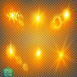 Set of glow light effect stars bursts with sparkles  on transparent background. For illustration template art. Design, banner for Christmas celebrate, magic Royalty Free Stock Image