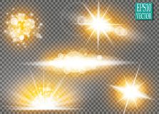 Set of glow light effect stars bursts with sparkles  on transparent background. For illustration template art. Design, banner for Christmas celebrate, magic Royalty Free Stock Photos
