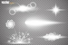 Set of glow light effect stars bursts with sparkles  on transparent background. For illustration template art. Design, banner for Christmas celebrate, magic Stock Image
