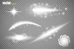 Set of glow light effect stars bursts with sparkles  on transparent background. For illustration template art Royalty Free Stock Photography
