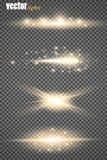 Set of glow light effect stars bursts with sparkles  on transparent background. For illustration template art. Design, banner for Christmas celebrate, magic Royalty Free Stock Images