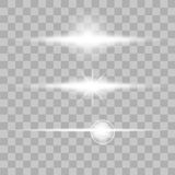 Set of glow light effect stars bursts with sparkles on transparent background. Vector Stock Photos