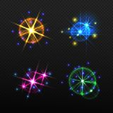 Set of glow light effects isolated on a transparent background. Multicolored set of bright flash and flare in the form of stars. Vector illustration Stock Photography