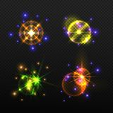 Set of glow light effects isolated on a transparent background. Multicolored set of bright flash and flare in the form of stars. Vector illustration Stock Images