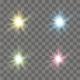 Set of glow lights effects. Stars, sparkles or particles. Vector Royalty Free Stock Photography