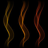 Set of Glowing Abstract Isolated Wave Lines for Black Background Royalty Free Stock Image