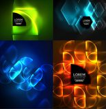 Set of glowing abstract shapes neon shiny hi-tech abstract backgrounds. Vector light effects templates Royalty Free Stock Photography