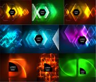 Set of glowing abstract shapes neon shiny hi-tech abstract backgrounds. Vector light effects templates Stock Photography