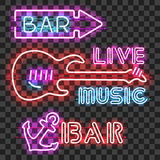 Set of glowing bar neon signs Stock Photo