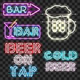Set of glowing bar neon signs. On transparent background. Shining and glowing neon effect. Every sign is separate unit with wires, tubes, brackets and holders stock illustration