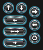 Blue Glowing Metallic Arrow Buttons Royalty Free Stock Photography