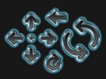 Blue Metallic Arrows. A set of 8 glowing blue metallic arrows Stock Photos