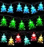 Set of glowing Christmas trees Stock Photo