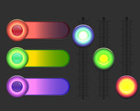 Set of glowing colorful sliders. Royalty Free Stock Images