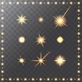 Set of glowing golden merry christmas stars Stock Photos