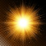 Set of glowing light effect star, the sunlight warm yellow glow with sparkles on a transparent background. Vector illustration Stock Photos
