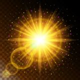 Set of glowing light effect star, the sunlight warm yellow glow with sparkles on a transparent background. Vector illustration Royalty Free Stock Photography
