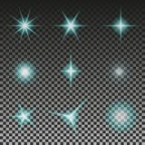 Set of Glowing Light Stars with Sparkles. Eps 10. Vector illustration. Set of Glowing Light Stars with Sparkles. Eps 10. Vector illustration Abstract Royalty Free Stock Photo