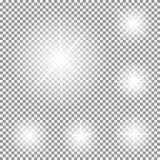 Set of Glowing Light Stars with Sparkles Vector Royalty Free Stock Images