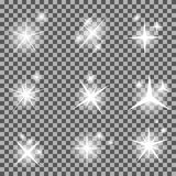 Set of Glowing Light Stars with Sparkles Vector Stock Image