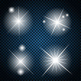 Set of Glowing Light Stars with Sparkles Vector Royalty Free Stock Photo