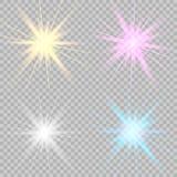 Set glowing lights effects stock illustration