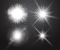 Set of glowing lights effects with transparency. Set of glowing lights effects isolated on transparent background. Special effects with transparency. Glowing stock illustration