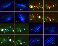 Set of glowing lines in dark space with sparkling, lens flares and glittering Stock Image