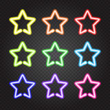 Set of glowing neon lights colorful stars. Vector illustration of glowing neon lights stars on dark transparent background.  objects, easy to change global Royalty Free Stock Photos