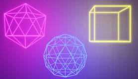 Set of glowing neon shapes in a retro cyberspace style. Set of glowing neon shapes in a retro cyberspace style, 3D rendered image stock illustration
