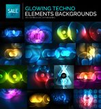 Set of glowing neon techno shapes, abstract background collection. Vector futuristic magic space wallpapers Royalty Free Stock Image