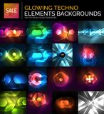 Set of glowing neon techno shapes, abstract background collection Royalty Free Stock Photos