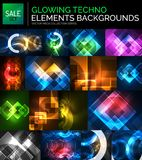 Set of glowing neon techno shapes, abstract background collection. Vector futuristic magic space wallpapers Royalty Free Stock Images
