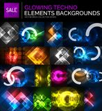 Set of glowing neon techno shapes, abstract background collection. Vector futuristic magic space wallpapers Stock Photos