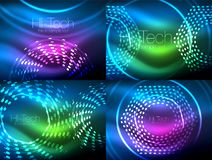 Set of glowing neon techno shapes, abstract background collection. Vector futuristic magic space wallpapers. Shiny light effects templates for web banner Stock Photo