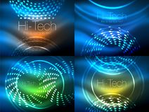 Set of glowing neon techno shapes, abstract background collection. Vector futuristic magic space wallpapers. Shiny light effects templates for web banner Stock Images