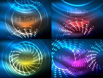 Set of glowing neon techno shapes, abstract background collection. Vector futuristic magic space wallpapers. Shiny light effects templates for web banner Stock Photos