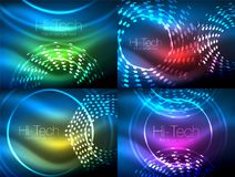 Set of glowing neon techno shapes, abstract background collection. Vector futuristic magic space wallpapers. Shiny light effects templates for web banner Royalty Free Stock Image