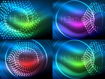 Set of glowing neon techno shapes, abstract background collection. Vector futuristic magic space wallpapers. Shiny light effects templates for web banner royalty free illustration