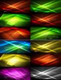 Set of glowing neon techno shapes, abstract background collection. Vector futuristic magic space wallpapers. Shiny light effects templates for web banner stock illustration