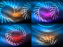 Set of glowing neon techno shapes, abstract background collection. Vector futuristic magic space wallpapers. Shiny light effects templates for web banner Stock Photography
