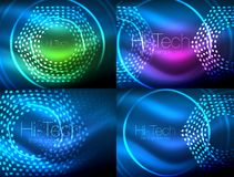 Set of glowing neon techno shapes, abstract background collection. Vector futuristic magic space wallpapers. Shiny light effects templates for web banner Stock Image
