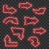Set of glowing red neon arrows. Isolated on transparent background. Shining and glowing neon effect. Every arrow is separate unit with wires, tubes, brackets stock illustration