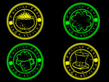 A set of glowing stamp for St. Patrick's Day. Stock Photos