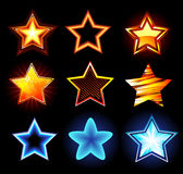 Set of glowing stars. Set of glowing neon stars and fire on a dark background stock illustration