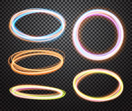 Set of glowing transparent circles. Light effects Royalty Free Stock Photography