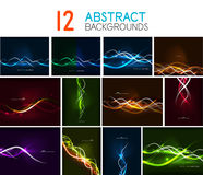 Set of glowing wave lines abstract backgrounds Stock Photography