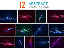 Set of glowing wave lines abstract backgrounds Royalty Free Stock Photo